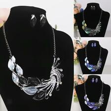 Fashion Women Jewelry Set Peacock Train Necklace and Earring Bib Front