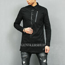 Men's Fashion Long Back Hem Sportive Zipper Cuff Pocket Black Shirt, GENTLERSHOP