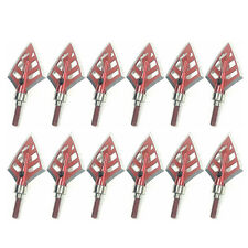 Lot Hunting 4 Fixed Blade Arrowhead Broadheads Field Points 125 Grain Red