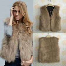 Faux Fox Fur Vest Womens Ladies Girls Camel-Brown Faux-Fur Various-Sizes 1MK