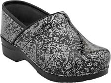 Dansko PRO XP PATENT Womens Motif Black Grey Leather Slip Resistant Clogs Shoes