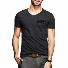 100% Cotton Mens Slim Casual T-shirt Short Sleeve V-neck Solid Black Gray M~XXL