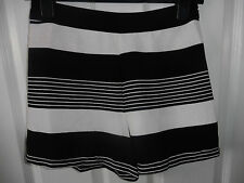 New Look Black & White Striped Crepe High Waist Shorts Size 8 BNWT!