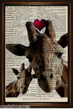 DICTIONARY PAGE ART PRINT - Giraffe Love  Antique Book paper
