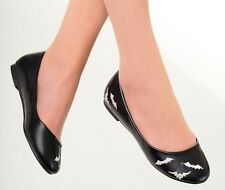 Banned Gothic Bats Ballerina Slip on Flat Shoes Pumps Vampire Emo Black 4 5 6 7