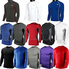 Mens Compression Shirt Base Layer Top Sport Long Sleeve Tights T-shirts Jersey