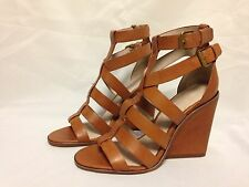 Pour La Victoire Cecile Wedge Heel Strappy Sandal 8.5 M Cigar Leather  New w/Box