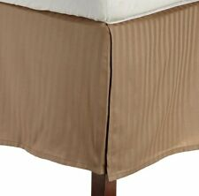"1 Qty Bed Skirt Super Soft Egyptian Cotton 1000 TC Drop(15"") Taupe Stripe"