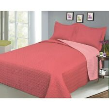 Luxury Fashionable Reversible Solid Colour Bedding Quilt Set, Coral/Salmon. Bran