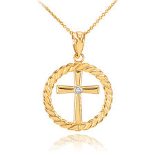 14k Gold Cross with Diamond Circle Rope Pendant Necklace