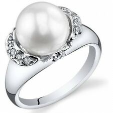 Oravo 8.5-9mm Freshwater Cultured White Pearl Rhodium-Plated Sterling Silver Eng