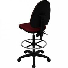 Multi Function Drafting Stool with Adjustable Lumbar Support, Burgundy or Navy B