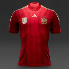 SPAIN 2014 (M,L,XL,2XL) HOME RED/GOLD ADIDAS SH/SLV SOCCER FOOTBALL SHIRT JERSEY