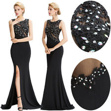 Black Long Sleeveless Prom Cocktail Party Bridesmaid Dress Formal Evening Dress