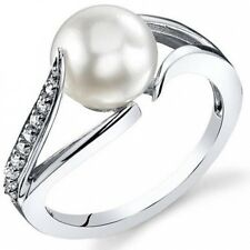 Oravo 8.0mm Freshwater Cultured White Pearl Rhodium-Plated Sterling Silver Engag
