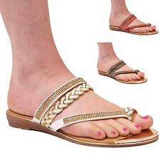 LADIES WOMENS CHAIN TOE POST SANDALS SUMMER FLIP FLOP HOLIDAY CASUAL BEACH SHOES