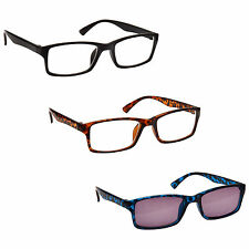 Black Brown Reading Glasses With Blue Sun Reader 3 Pack Mens Womens RRS92-123