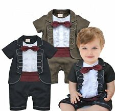 Baby Boy Wedding Tuxedo Formal Birthday Party Suit Romper Outfit Clothes 6-24M