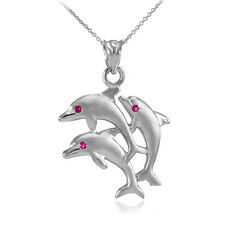 Satin Finish Silver Triple Jumping Dolphins 3 CZ Eyes Pendant Necklace
