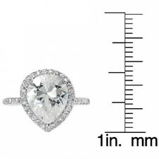 Alexandria Sterling Silver Pear Cubic Zirconia Bridal Ring. Free Shipping