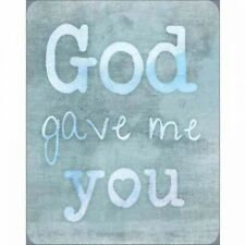God Gave Me You Burlap Heart Inspirational Typography Blue Canvas Art by Pied Pi