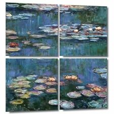 Art Wall 'Water Lilies' by Claude Monet 4 Piece Painting Print on Canvas Set. Be