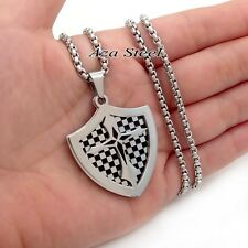 Men's Silver Shield Cross Badge Stainless Steel Pendant with Box Chain Necklace