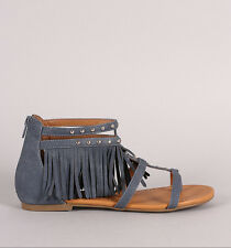 Womens Denim Studded Fringe Cuff Thong Ankle Flat Sandal Gladiator Strappy Zip