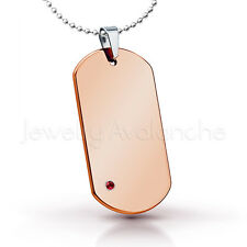 0.07ct Garnet Pendant, Rose Gold Plated Dog Tag Tungsten Carbide Pendant 263BS