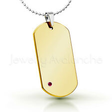 0.07ct Ruby Pendant, Yellow Gold Plated Dog Tag Tungsten Carbide Pendant 264BS