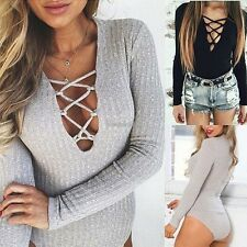 Women TOP V NECK Long Sleeve Bodysuit Sexy Rompers Jumpsuits Knitwear Leotard