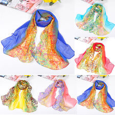 Fashion Women Scarf Gradient Floral Soft Chiffon Voile Scarf Wrap Shawl Stole