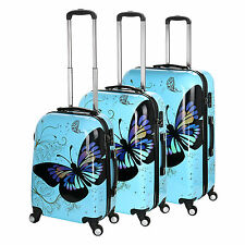 "20/24/28"" Universal Wheel Blue Butterfly Travel Suitcase Cabin Luggage TSA Lock"