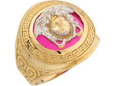 10k / 14k Two Tone Gold Simulated Ruby Round Greek Key Face of Medusa Mens Ring