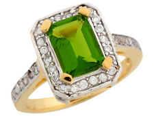 10k / 14k Two-Tone Gold Simulated Peridot White CZ Accent Flirty Ladies Ring