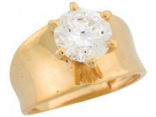 10k / 14k Yellow Gold Round Cut White CZ Wide Band Ladies Engagement Ring
