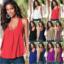 Plus Size New Womens Chiffon Vest Top Sleeveless Blouse Shirts Tank T-Shirt L23