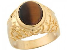 10k / 14k Yellow Gold Synthetic Tigers Eye Small Thick Nugget Band Mens Ring
