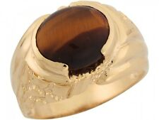 10k / 14k Yellow Gold Synthetic Tigers Eye Attracive Majestic Mens Ring