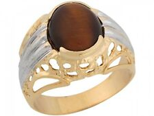 10k / 14k Two Tone Real Gold Synthetic Tigers Eye Modern Elegant Mens Ring