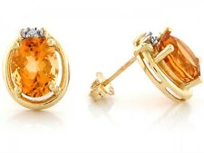 10k / 14k Yellow Gold Citrine Vintage Inspired Natural Diamond Earrings
