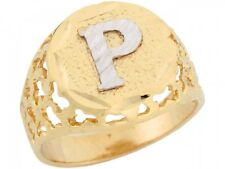 10k / 14k Two Tone Gold Unique Filigree Letter P Stylish Mens Initial Ring