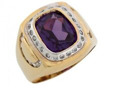 10k / 14k Two Tone Solid Gold Simulated Alexandrite CZ Modern Mens Ring