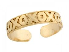 10k / 14k Real Yellow Gold Xoxo Hugs Kisses Thin Designer Toe Band