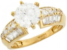 10k / 14k Real Yellow Gold 3.27ct White CZ Attractive Engagement Ladies Ring
