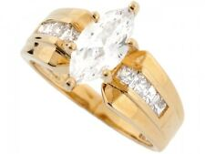 10k / 14k Real Yellow Gold 2.9ct Sparkling Marquise CZ Fancy Engagement Ring