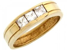 10k / 14k Yellow Gold Mens Square Cut Channel Set CZ Ring