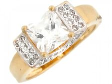 10k / 14k Two-Tone Gold Square CZ Engagement Ring with Pretty Pave Accents