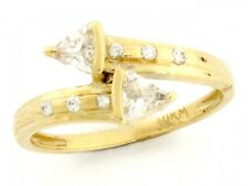 10k / 14k Solid Yellow Gold Double Arrow Bypass CZ Ring