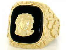 10k / 14k Solid Yellow Gold Nugget Onyx Jesus Mens Ring